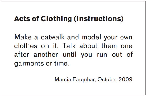 Acts of Clothing: Instructions